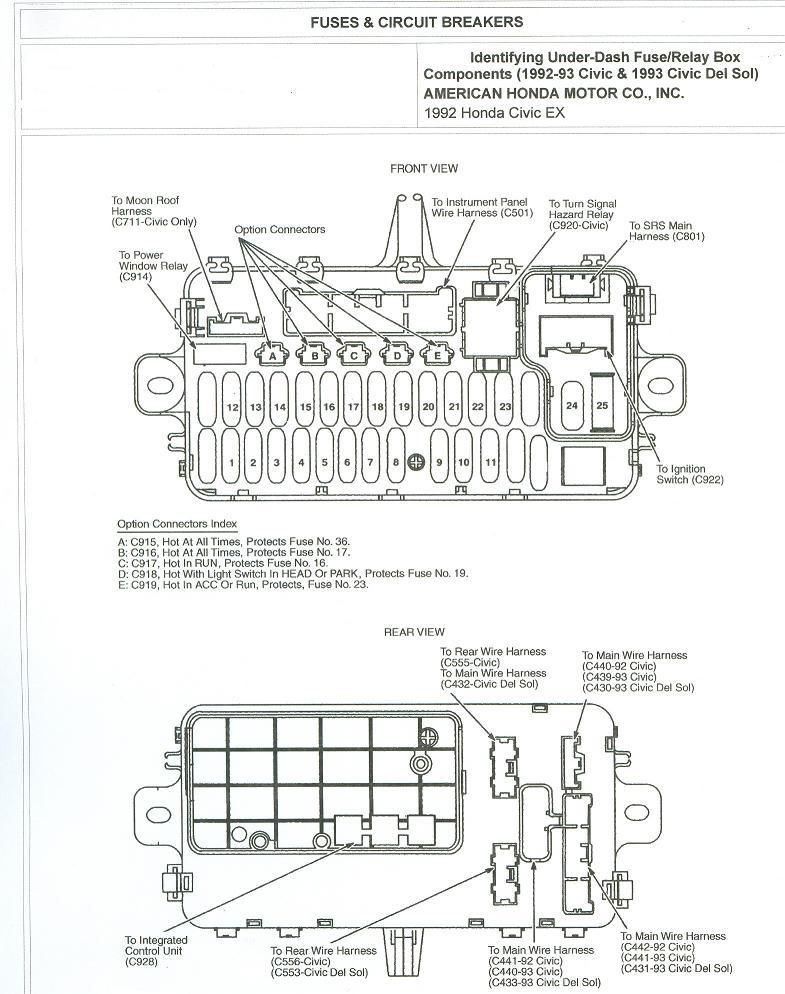 1993 Accord Ex 4dr Under Dash Fuse Diagram Honda Tech In