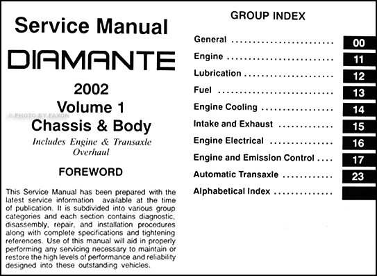 2002 Mitsubishi Diamante Original Repair Shop Manual 2 Vol. Set throughout Mitsubishi Diamante Fuse Box Diagram