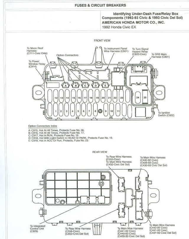 Fuse Box Diagram For 92 Honda Civic - Automotive Wiring And Electrical within 1995 Honda Civic Ex Fuse Box Diagram