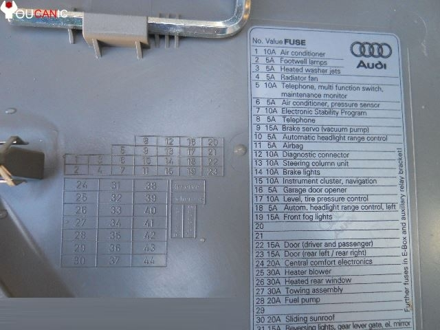 fuse box location list diagram audi a4 b7 2004