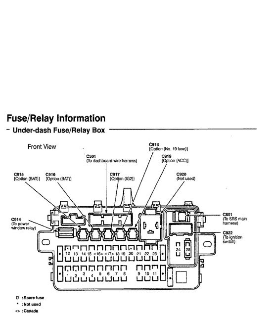 Honda Civic Del Sol Fuse Box Diagrams - Honda-Tech for 2000 Honda Civic Fuse Box