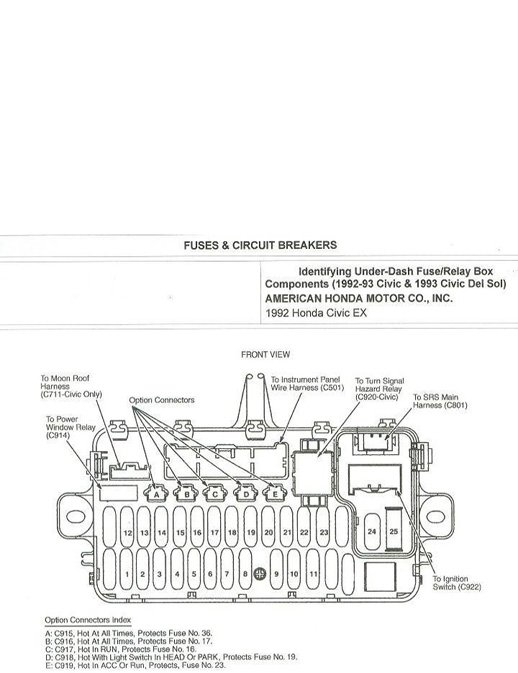 Honda Civic Fuse Box Diagrams - Honda-Tech with regard to 1993 Honda Del Sol Fuse Box Diagram