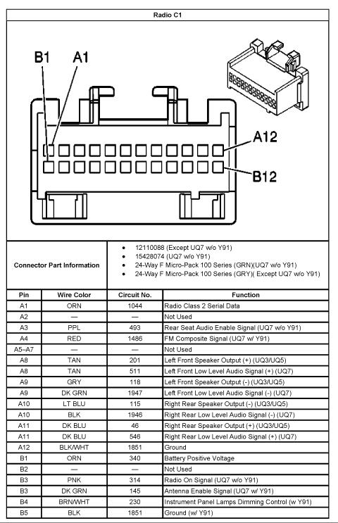 Chevy silverado radio wiring diagram chevrolet