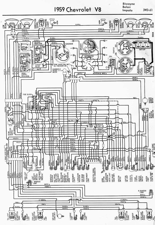 1959 Classic Chevrolet- Wiring Diagrams with 1959 Chevy Impala Wiring Diagram
