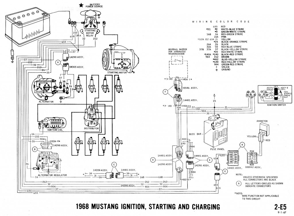 1968 Mustang Wiring Diagrams And Vacuum Schematics - Average Joe inside Ford Wiring Diagrams