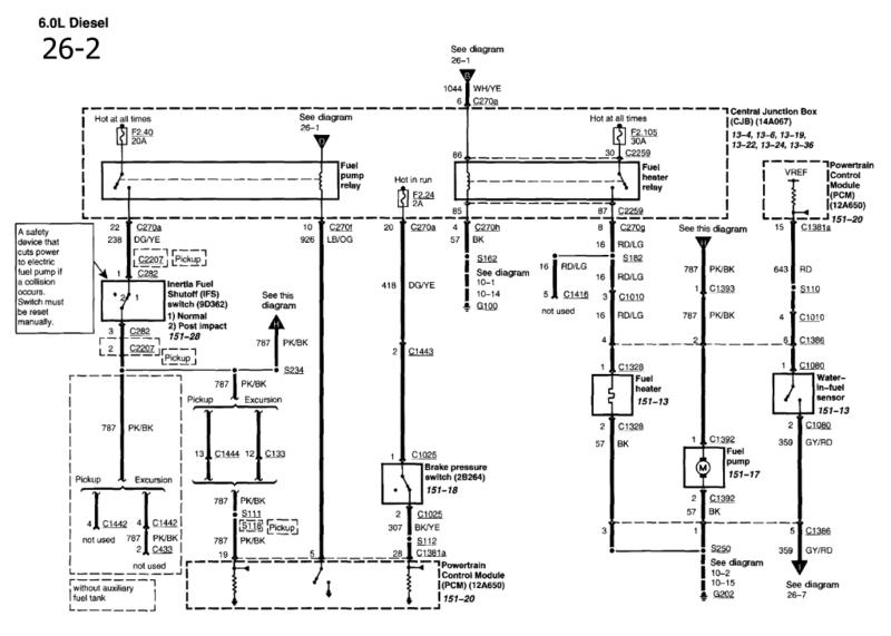 1994 ford ranger fuel pump relay diagram wiring for
