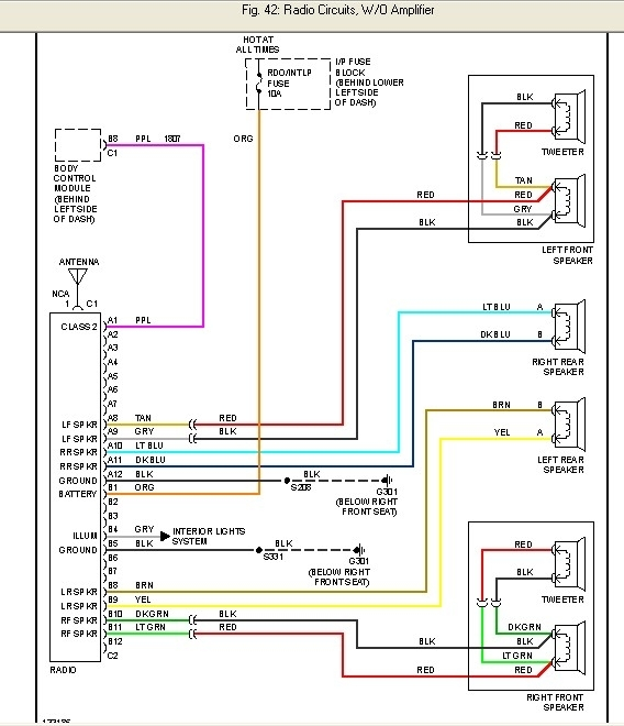 2000 Chevy Cavalier Factory Radio Wire Diagram intended for Chevy Radio Wiring Diagram