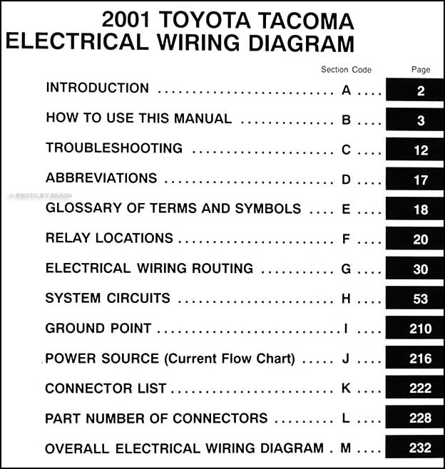 2001 Toyota Tacoma Pickup Wiring Diagram Manual Original in 2001 Toyota Truck Wiring Diagram