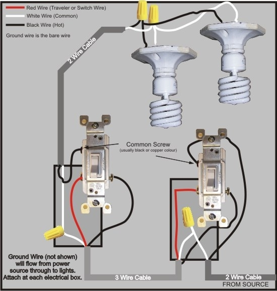 3 Way Switch Wiring Diagram throughout 3 Way Light Switch Wiring Diagram