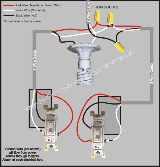 3 Way Switch Wiring Diagram within How To Wire A 3 Way Switch Diagram