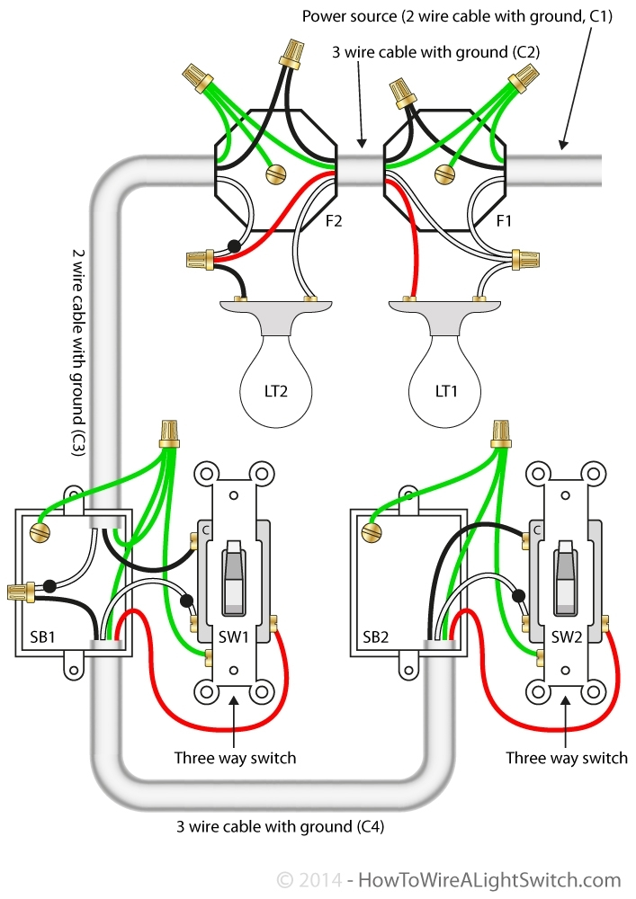 Wiring Diagram 3 Way Switch With Multiple Lights : Way switch with power feed via the light multiple