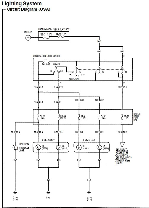 92-95 Dx Civic Headlight Wiring. - Honda-Tech - Honda Forum Discussion pertaining to 95 Honda Civic Wiring Diagram