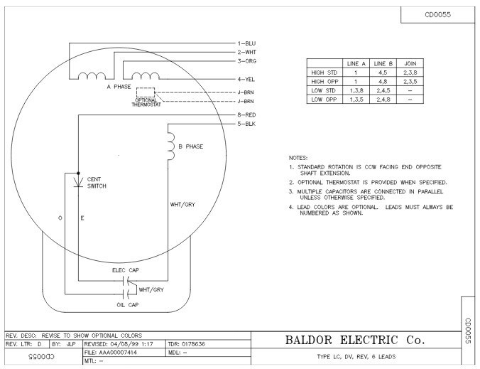 Baldor Wiring Diagram Single Phase inside Baldor Motors Wiring Diagram