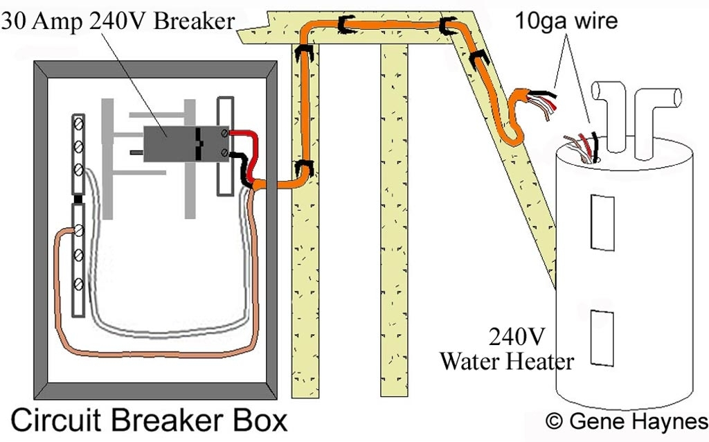 Basic 240 & 120 Volt Water Heater Circuits intended for Hot Water Heater Wiring Diagram