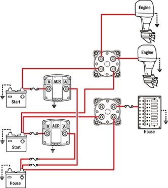 Battery Management Wiring Schematics For Typical Applications for Blue Sea Add A Battery Wiring Diagram