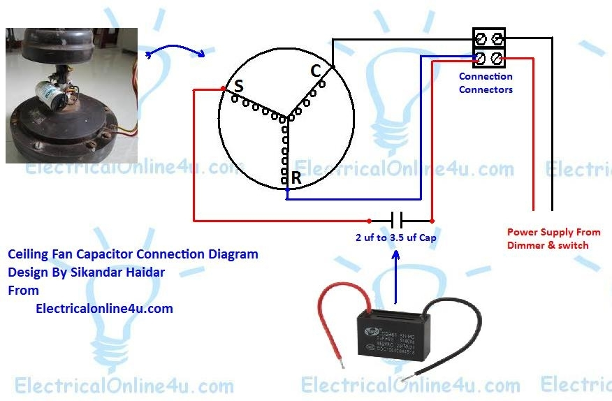 Ceiling Fan Capacitor Wiring Connection Diagram with regard to Capacitor Wiring Diagram