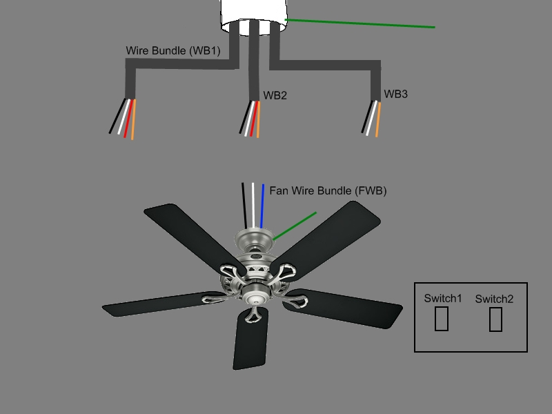 Ceiling Fan W/two Wall Switches And Too Many Wires (Diagram for How To Wire A Ceiling Fan With Two Switches Diagrams