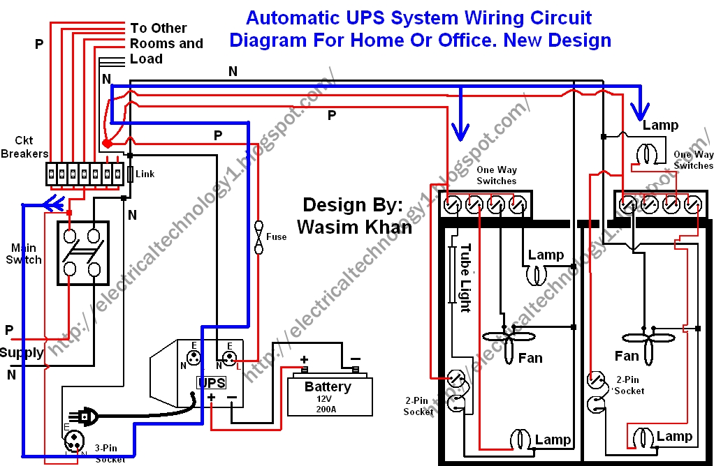 Electrical Technology: Automatic Ups System Wiring Wiring Diagram regarding Inverter Home Wiring Diagram