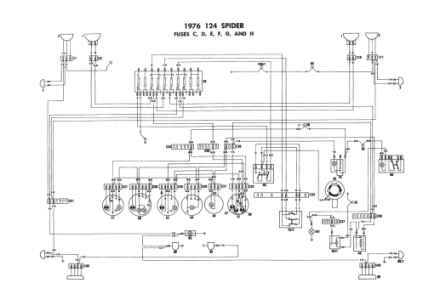 Fiat 124 Spider - Electrical Schemes with regard to 1975 Fiat Spider Wiring Diagram