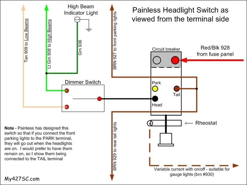 Headlight Dimmer Switch Wiring Diagram Painless Headlight Switch in Headlight Dimmer Switch Wiring Diagram