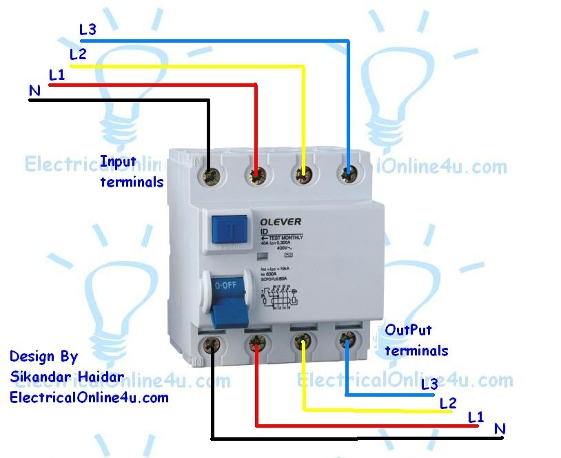 Wiring Diagram 4 Pole Rcd : How to wire a pole rcd circuit breaker for phase