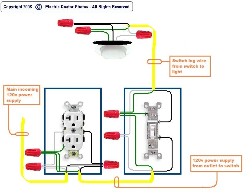 How To Wire A Light Switch From An Outlet Diagram