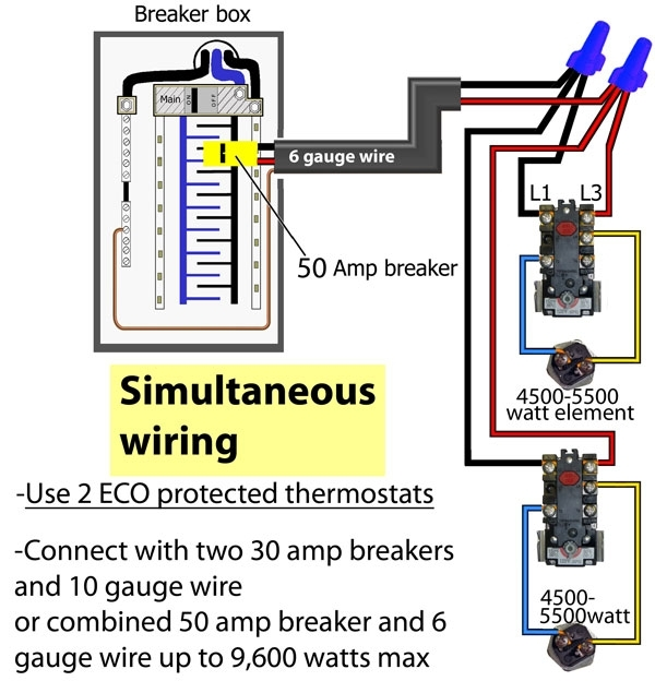 How to wire water heater thermostat with regard