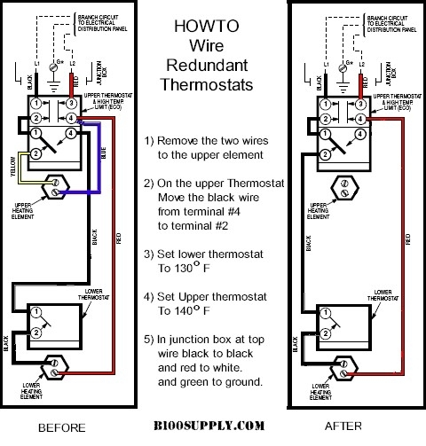 How To Wire Water Heater Thermostat within Electric Hot Water Heater Wiring Diagram