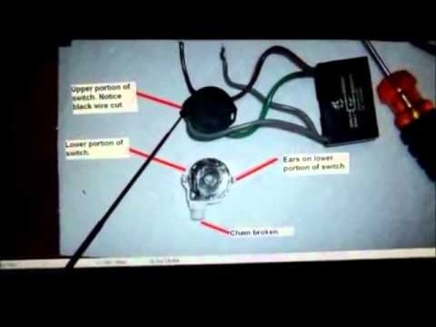Hunter Ceiling Fan 4-Wire Switch Repair - Youtube with Ceiling Fan Pull Chain Light Switch Wiring Diagram