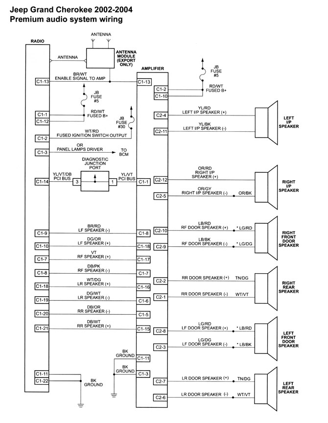 Speaker wiring diagram for 2000 jeep