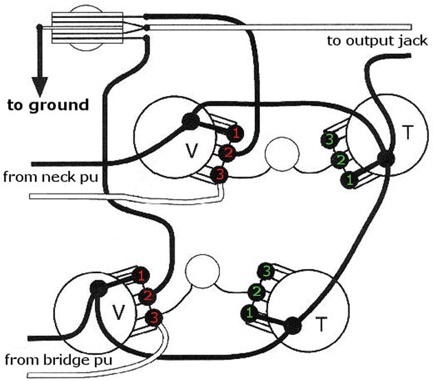 Mod Garage: Decouple Your Les Paul's Volume Controls | 2014-07-18 for Les Paul Wiring Diagram
