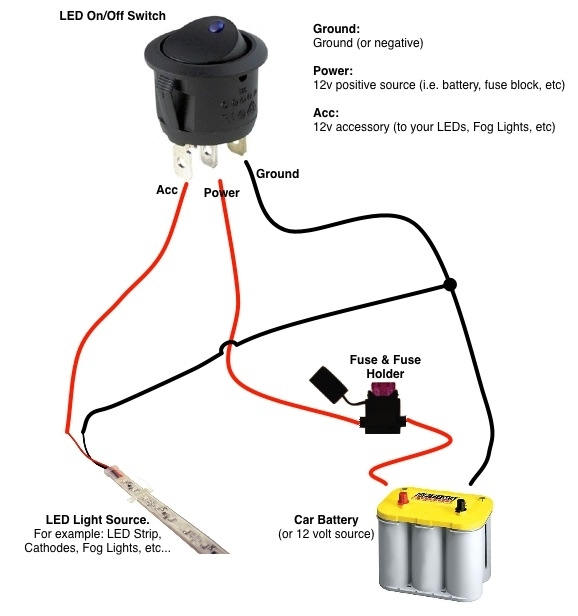 On/off Switch & Led Rocker Switch Wiring Diagrams | Oznium Forum regarding 2 Pole Toggle Switch Wiring Diagram