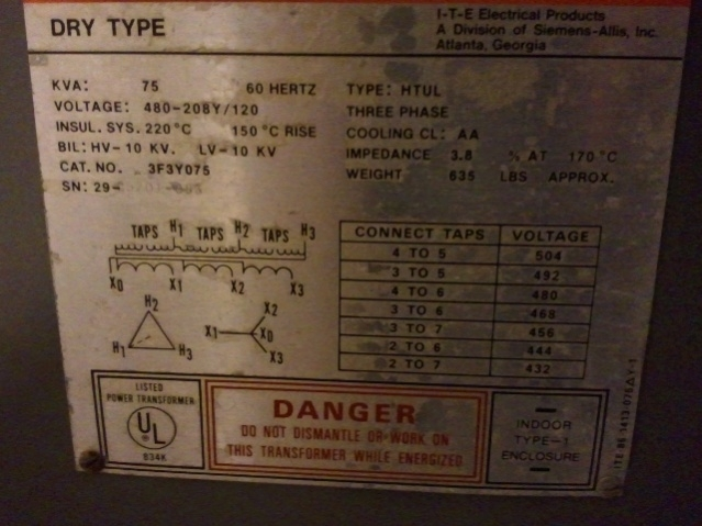 Reverse Wire Transfrmer 480V Delta To 120/208 Wye - Electrician in 480V Transformer Wiring Diagram