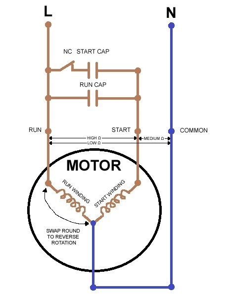 Wiring Diagram For Compressor Single Phase : Single phase motor wiring diagram electrical