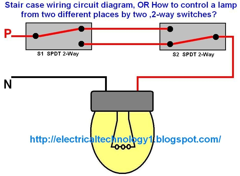Staircase Wiring Circuit Diagram. Electrical Technolgy regarding 2 Way Switch Wiring Diagram
