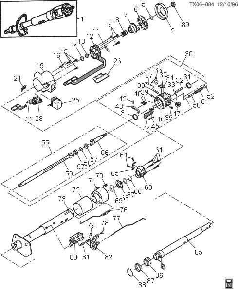 Steering Column Exploded Views For Ford, Gm, Dodge, Chrysler, Jeep in 1974 Bronco Steering Column Schematic