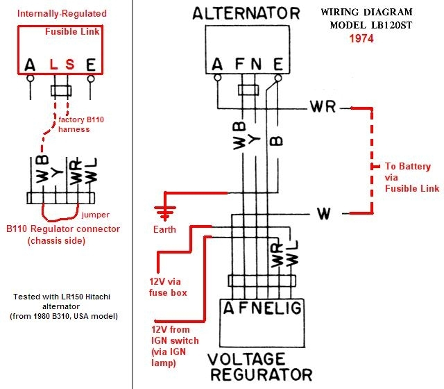Wiring Diagram For Alternator With External Regulator : Tech wiki ir alternator conversion wiring datsun
