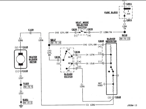 service manual  how to wire heater blower motor in a 1987