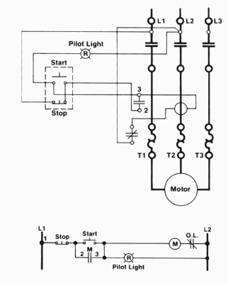 Three Wire Control Circuit With Indicator Lamp Throughout 3 Wire Stop Start Wiring Diagram