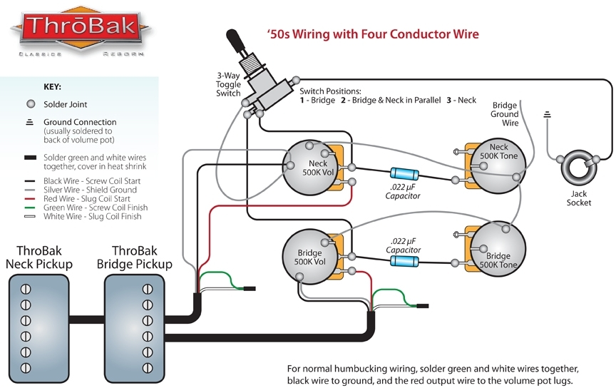 Throbak 50's 4 Conductor Wiring within Gibson Les Paul Wiring Diagram