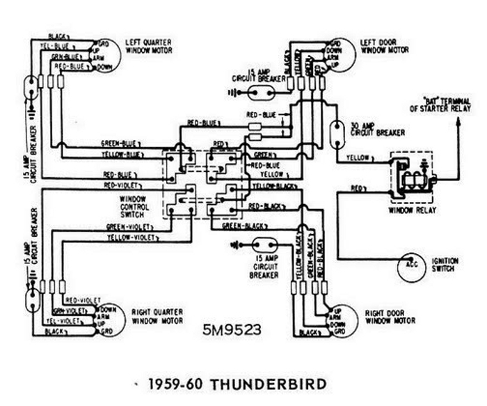 Windows Wiring Diagram For 1959 60 Ford Thunderbird All