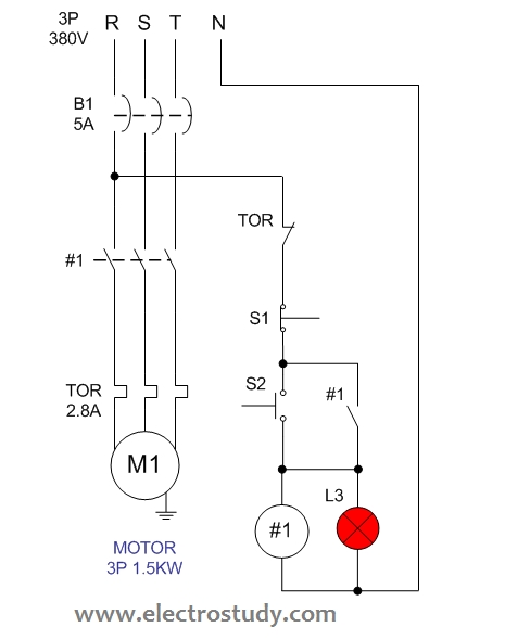 Wiring Diagram Single Motor With Start - Stop Switch | Electrostudy intended for 3 Phase Start Stop Wiring Diagram