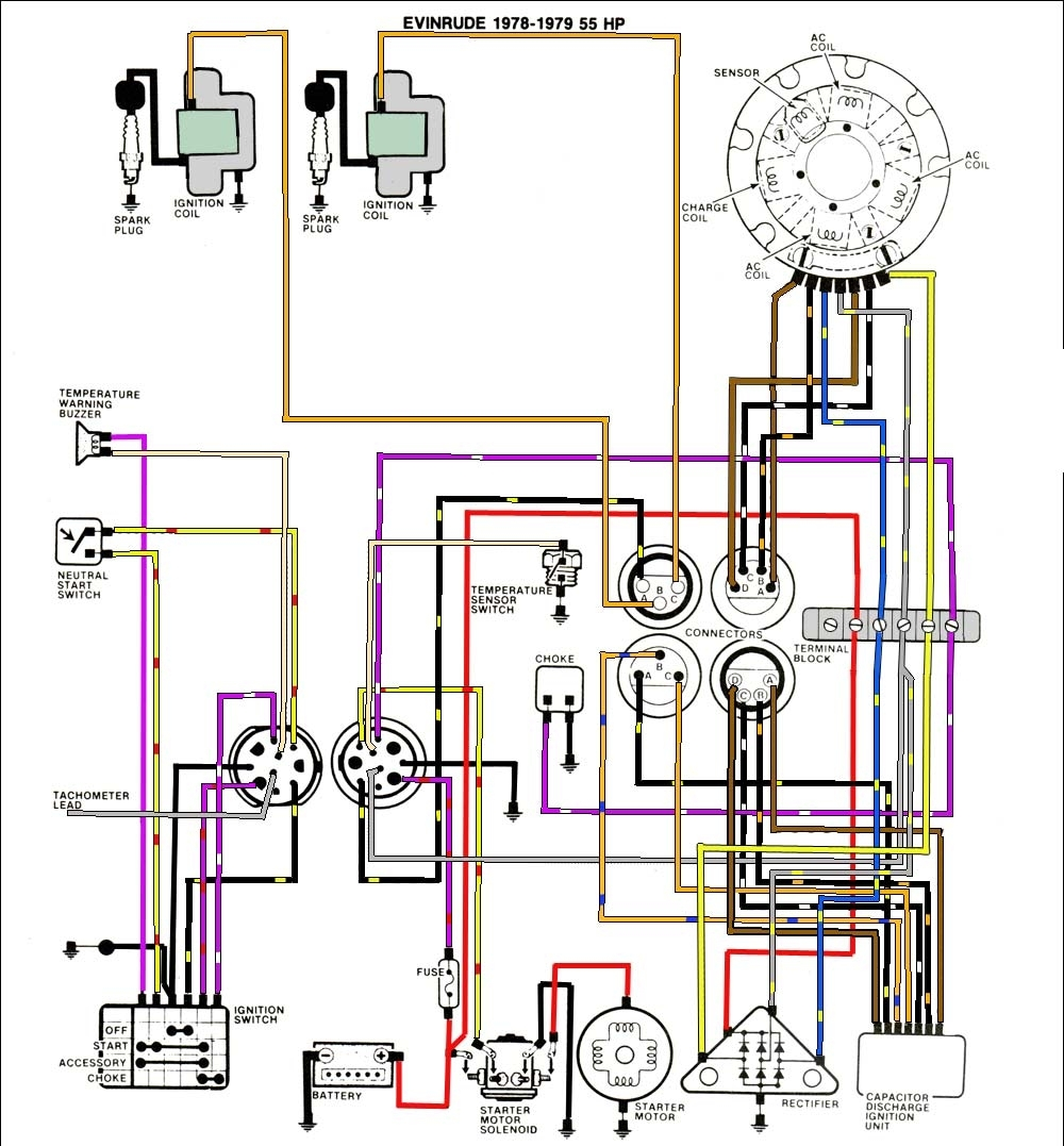 Mastertech Marine -- Evinrude Johnson Outboard Wiring Diagrams intended for 50 Hp Evinrude Wiring Diagram