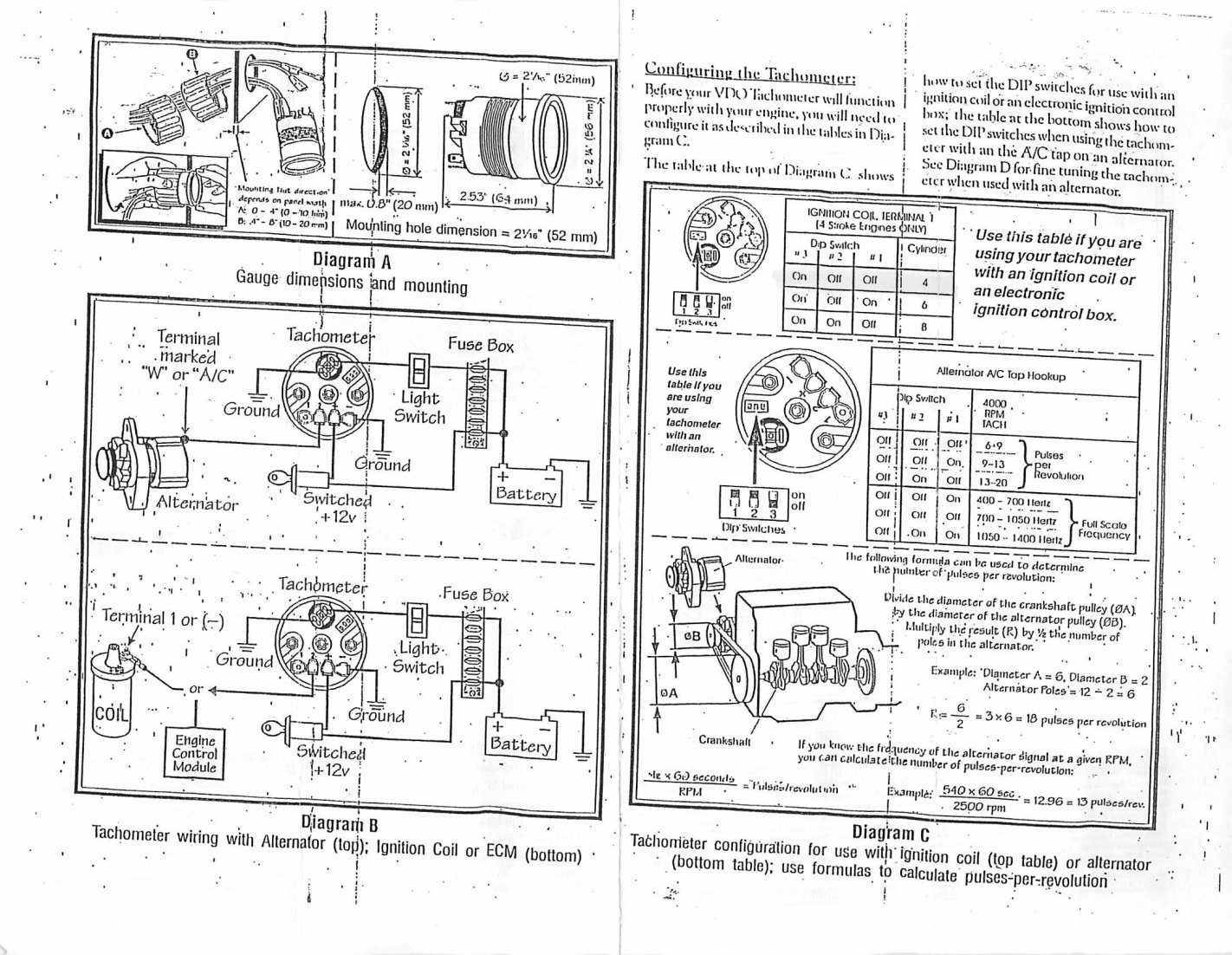 Vdo Gauges Wiring Diagrams With Tachometer Diagram Coil Merzienet regarding Boat Gauge Wiring Diagram For Tachometer